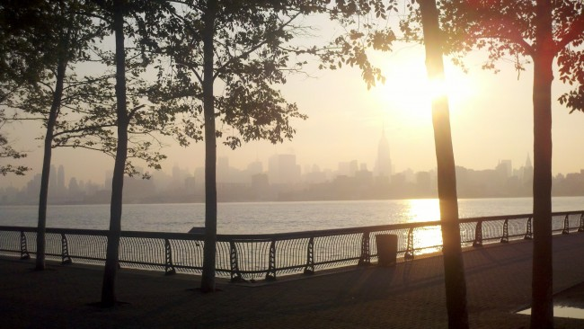 New York City Skyline in Fog from Hoboken