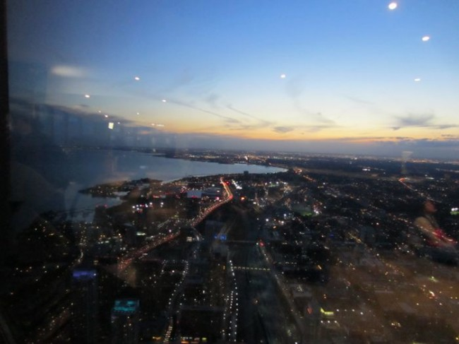 A view of Lake Ontario from the top of the CN Tower in Toronto