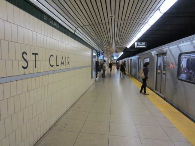 An arriving train in the St. Clair Station of the Toronto Subway