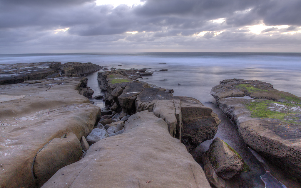 Image of La Jolla cove in California after sunset