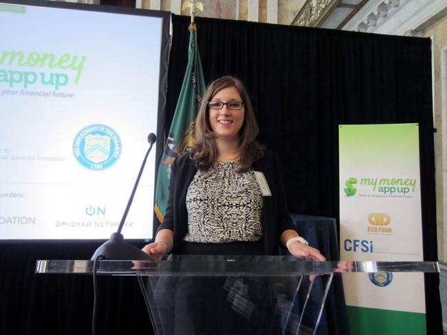 Nicole Kendrot at Podium for MyMoneyAppUp Challenge Presentation