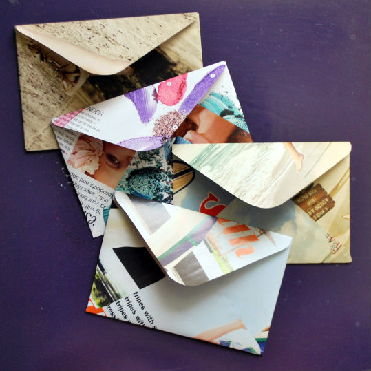 Creative ways to reuse things: Magazines to envelopes