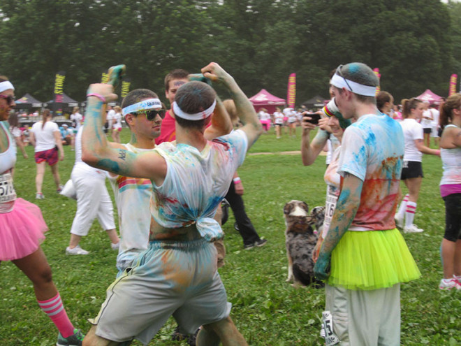 Guys Dancing After Color Run