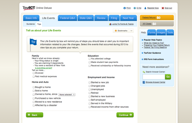 Screenshot of TaxACT
