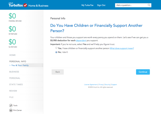 Screenshot of TurboTax