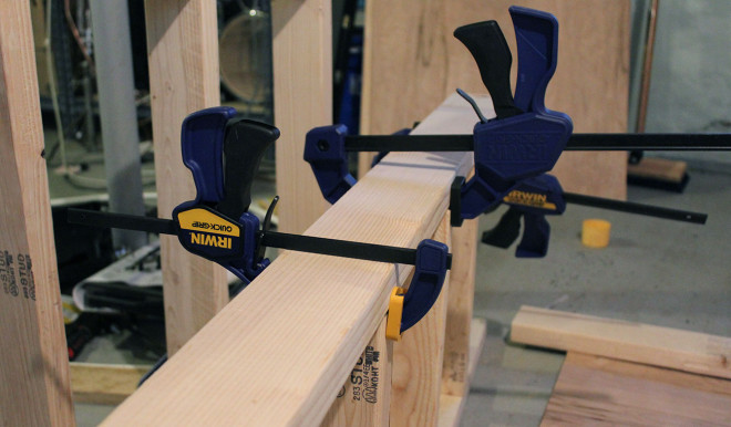 Clamps hold pieces together