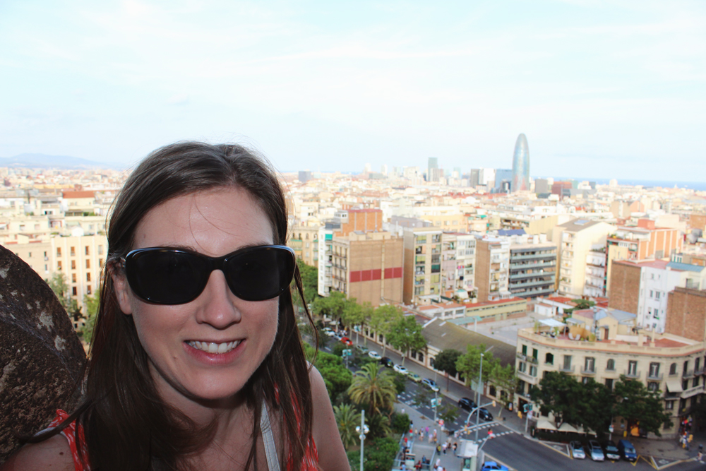 Nicole in Sagrada Familia Tower Looking Over Barcelona