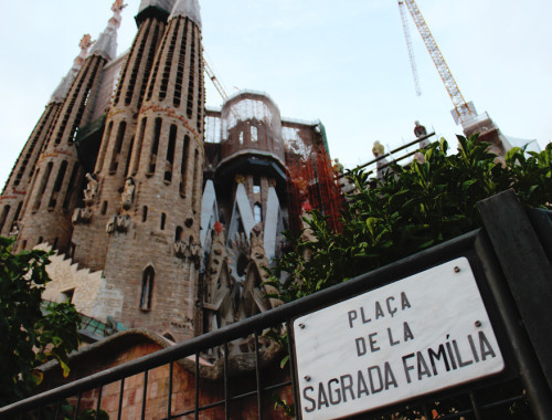Sagrada Familia Exterior with Street Sign