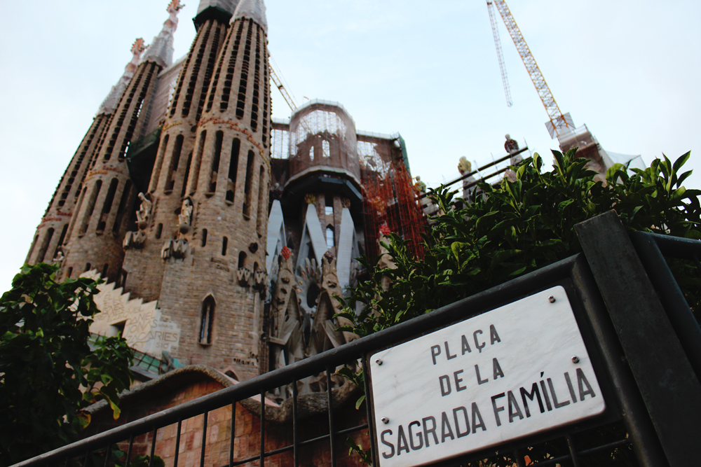 Sagrada Familia Exterior with Street Sign