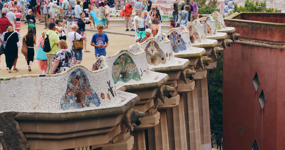 Close up of Park Güell's columns and mosaics