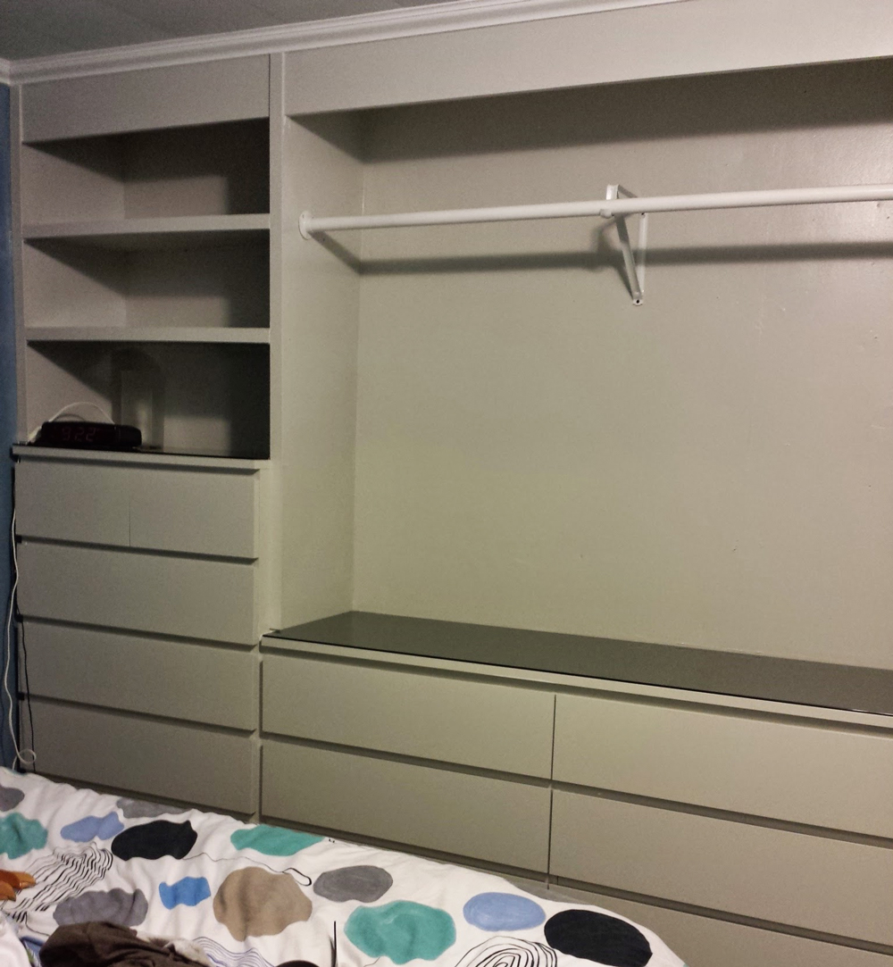 Ikea hack built in wardrobe using malm dressers living for Ikea dresser in closet