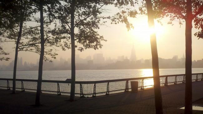 New York City Skyline in Fog from Hoboken