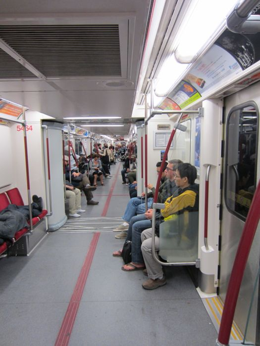 There are no dividers between the cars in the subway trains in Torontos