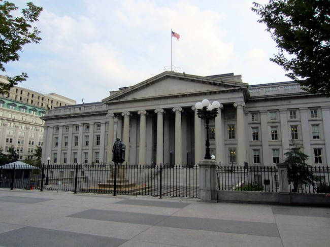Front of the U.S. Treasury Building