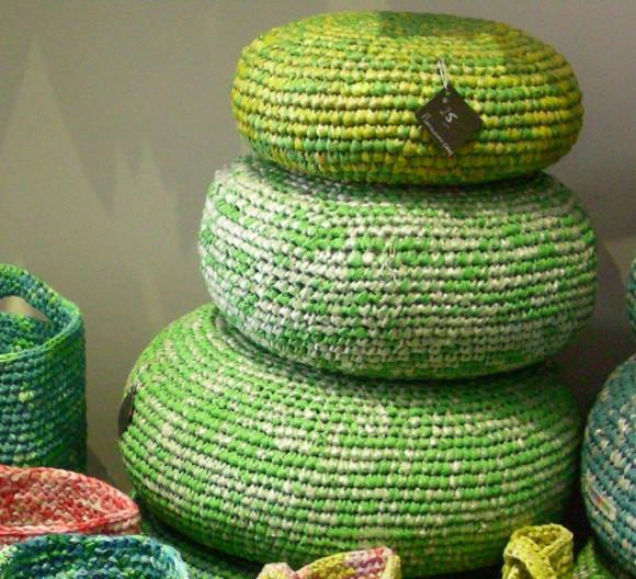 Crocheted plastic bag pillows