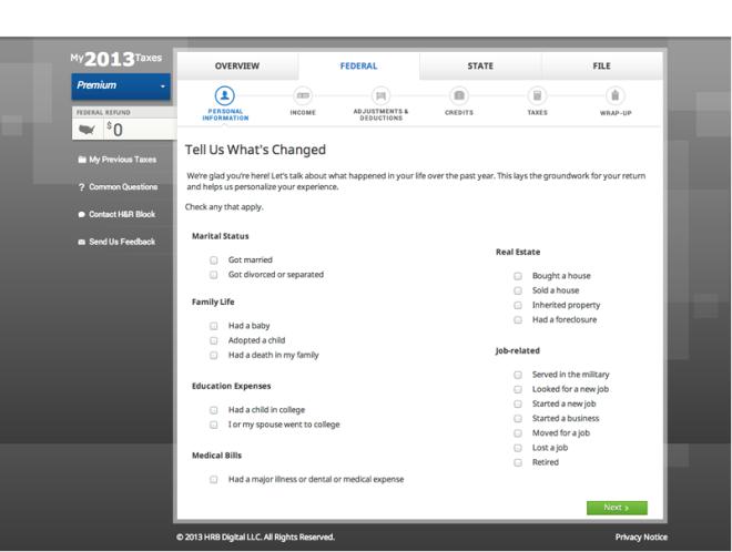 Screenshot of H&R Block Online