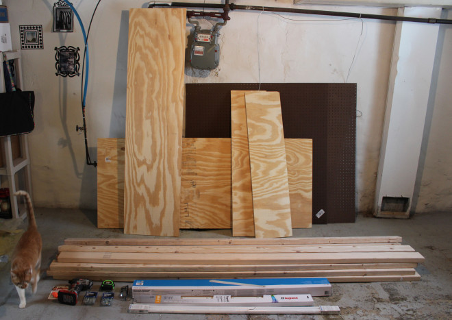 All tools and supplies for building a workbench