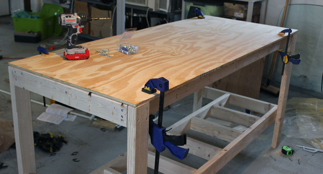Attach top to base of workbench