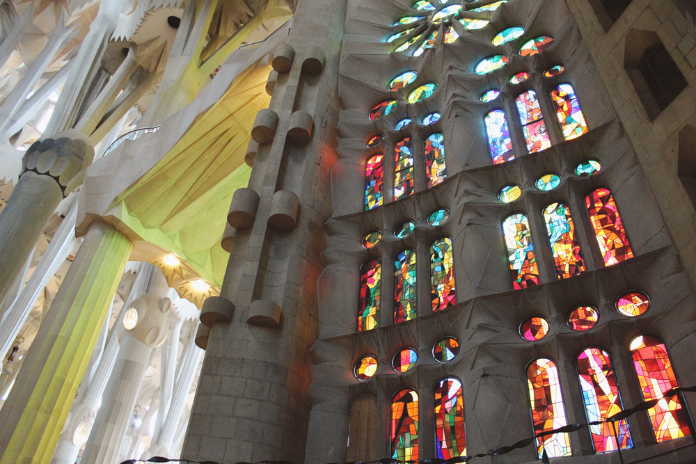 View of Sagrada Familia's stained glass windows