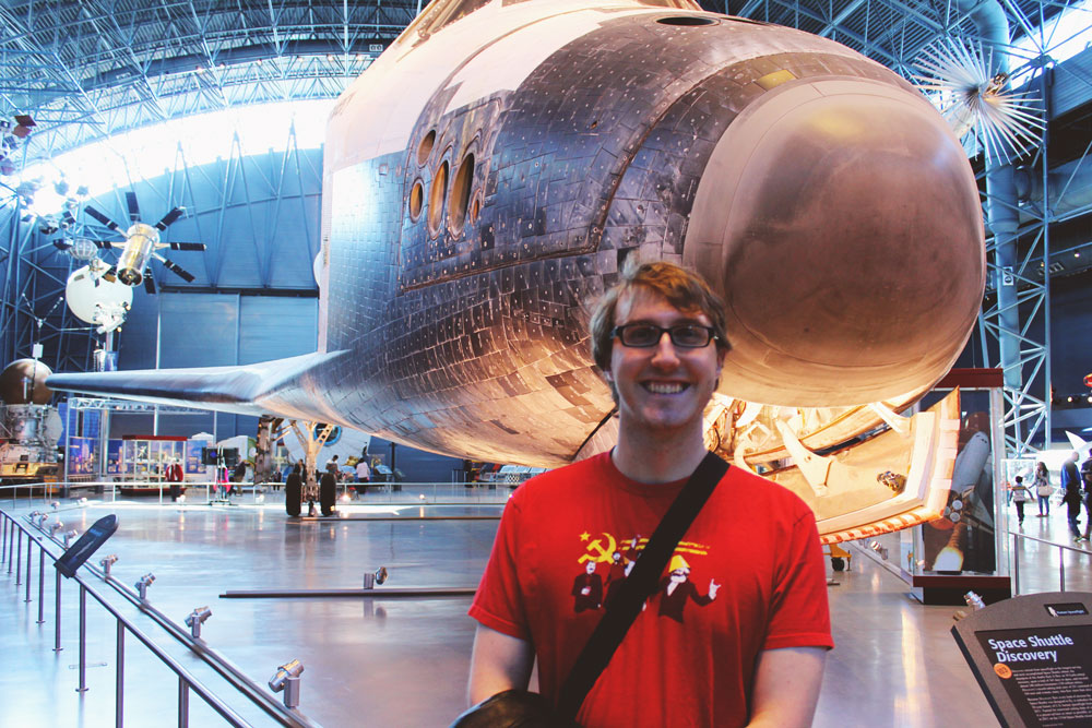 Richard in front of Discovery Space Shuttle